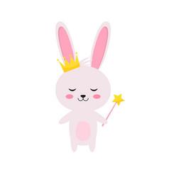 princess rabbit with magic wand and crown vector image