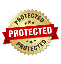 Protected round isolated gold badge vector