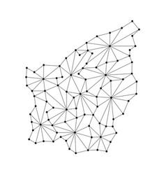 san marino map of polygonal mosaic lines rays vector image