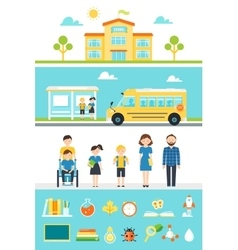 School education design elements and icons vector