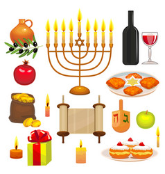 set of hanukkah celebration elements vector image vector image