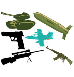 set of military objects vector image