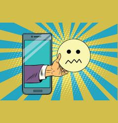 Skepticism emoji emoticons in smartphone vector