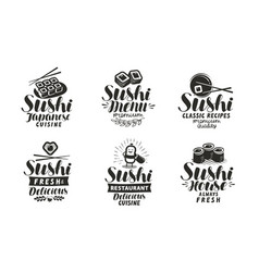 sushi and rolls logo or label japanese food set vector image vector image