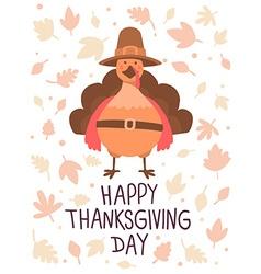 thanksgiving with orange turkey bird in brow vector image