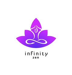Yoga zen pose logo with lotus flower silhouette vector