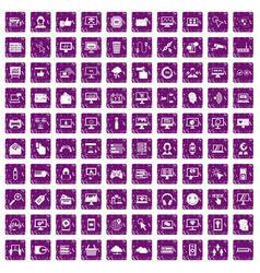 100 internet icons set grunge purple vector image