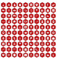 100 national holiday icons hexagon red vector image vector image