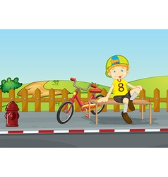 Boy sitting on sidewalk vector