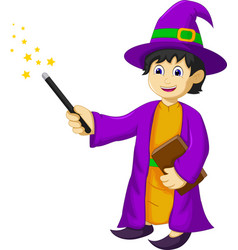 Funny witch cartoon holding book and magic stick vector