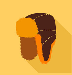 Fur hat with ear flaps icon flat style vector