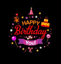 happy birthday kids card at black vector image