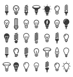Bulb icon set vector