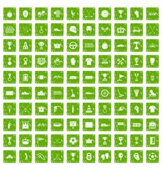 100 awards icons set grunge green vector