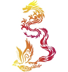 Flying Dragon Phoenix Chinese Style Paper Cut vector image