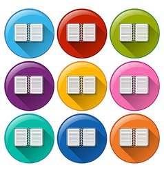 Circle buttons with notebooks vector