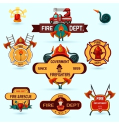 Firefighter emblems set vector