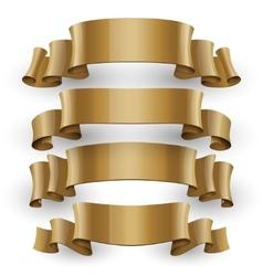 Realistic Gold Glossy ribbons set vector image