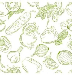 Seamless monochrome pattern vegetable mix vector
