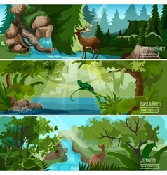 Forest landscape horizontal banners set vector