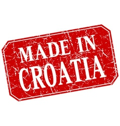 Made in croatia red square grunge stamp vector