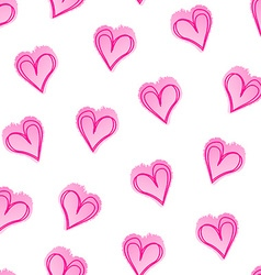 Pink love hearts in a seamless pattern vector
