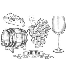 Hand drawn wine and cheese icon drawings vector