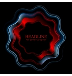 Abstract bright wavy ring logo on black background vector