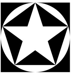 black and white star pentagon circle square vector image