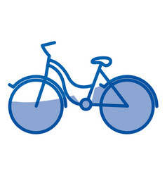 Blue shading silhouette of tourist bike icon vector