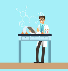 chemists scientist testing chemical elements vector image vector image