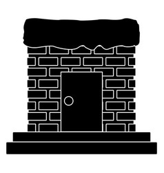 Chimney with door and stairs vector