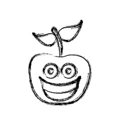 contour kawaii fruit apple happy icon vector image vector image