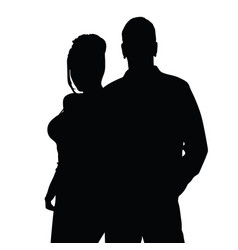 couple silhouette happy in black color vector image vector image