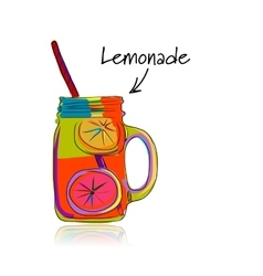Cup with lemonade sketch for your design vector image vector image