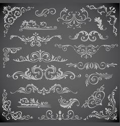 Dark set of swirl elements for frame design vector