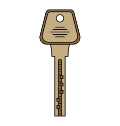 Door key isolated on white background Flat color vector image