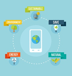 Ecology and mobile phone app flat design concept vector image vector image