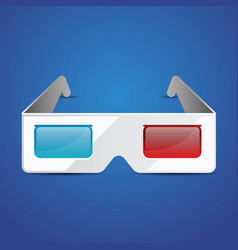 Flat anaglyph 3d glasses cinema icon 3d vector