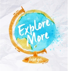 Globe watercolors poster vector