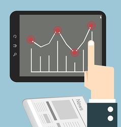 Hands with a tablet touch with graph vector image