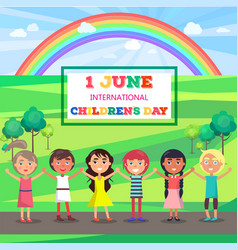 happy childrens day poster with kids in park vector image