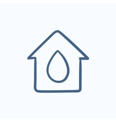 House with water drop sketch icon vector image vector image