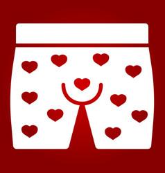 Men underwear with hearts glyph icon vector