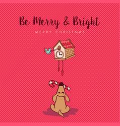 Merry christmas funny dog cartoon greeting card vector