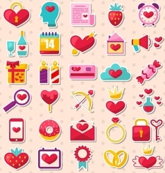 Modern Flat Design Icons for Happy Valentine Day vector image vector image