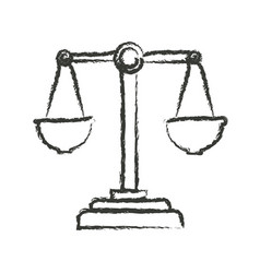 Monochrome blurred silhouette of justice scales vector