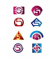 Number 5 logo icon design template elements vector image vector image