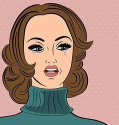 pop art sad retro woman in comics style with vector image