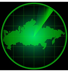 Radar screen with the silhouette of Russia vector image vector image